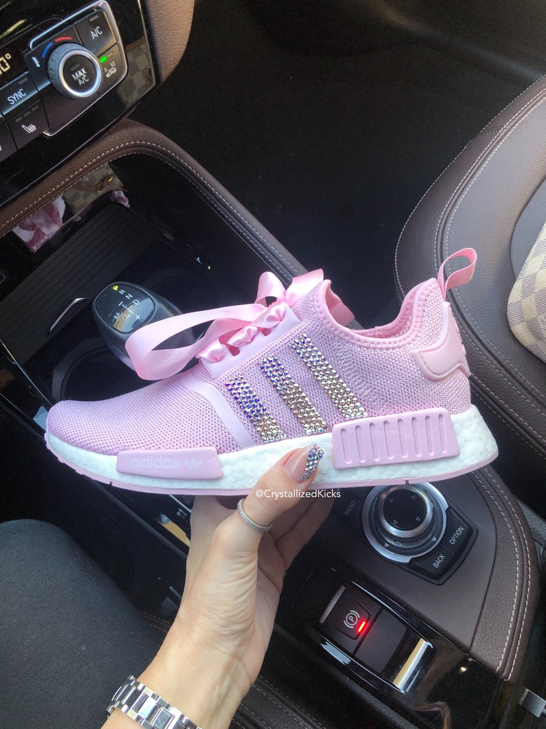 Swarovski Adidas NMD R1 Runner Women Made with SWAROVSKI® Xirius Rose Crystals PinkWhite