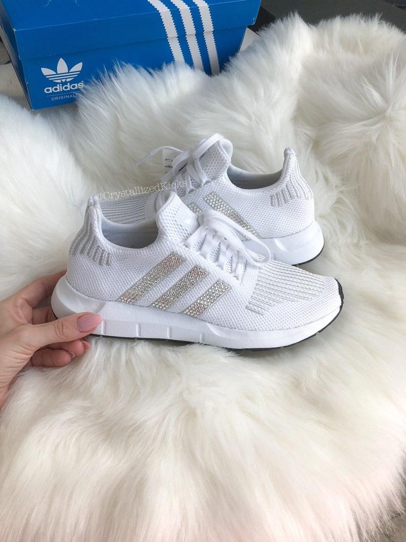 c74b2d01017e3 Swarovski Adidas Swift Run Women Made with SWAROVSKI® Xirius Rose Crystals  - White/White