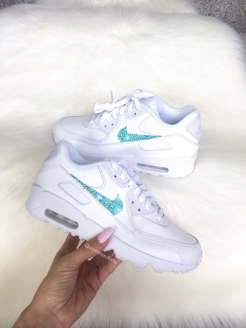 huge discount 0f24f 6f13f Nike Air Max 90 White Shoes Made with SWAROVSKI® Crystals   Etsy