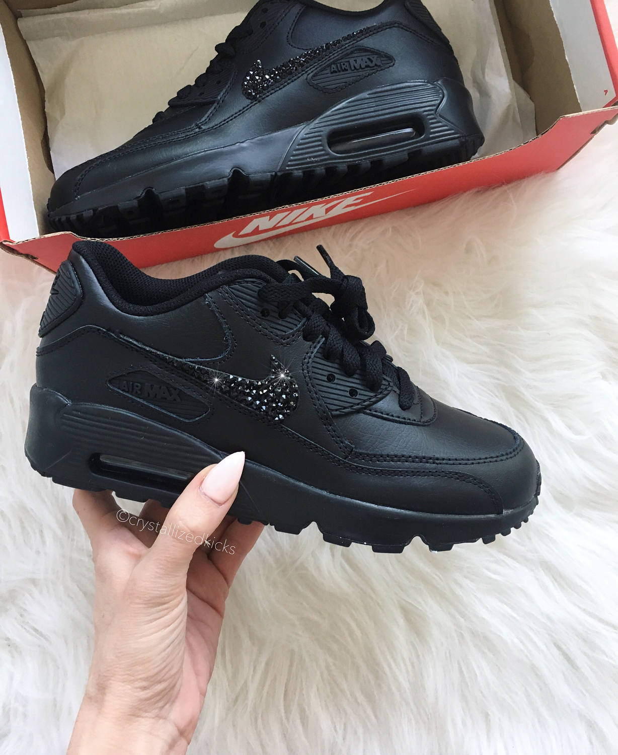 Nike Air Max 90 Womens Youth Black Sneakers Made with SWAROVSKI® Crystals blackblack | Leather