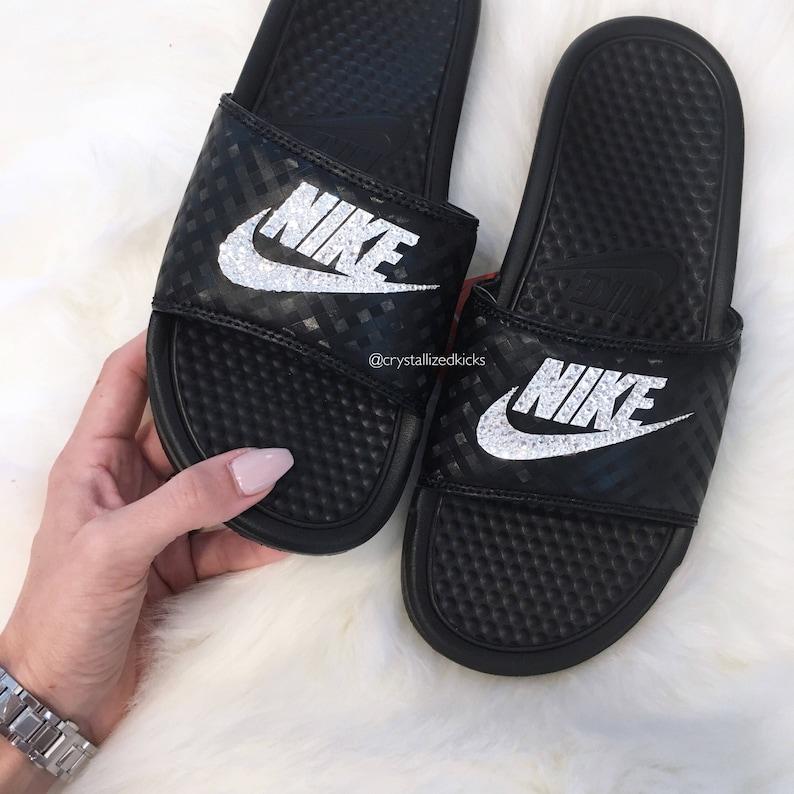 Nike Benassi Slides Made with SWAROVSKI® Crystals  1d158e7dcb6d