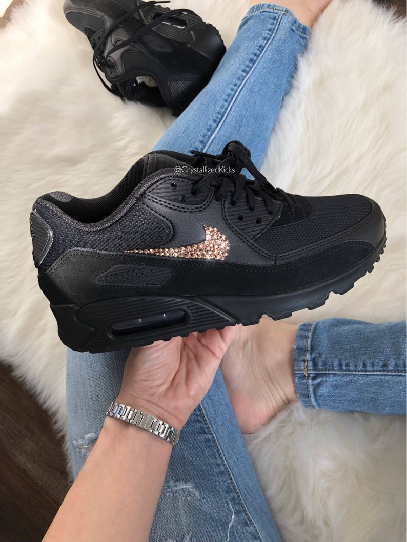 promo code e17f9 eb18d Women's Nike Air Max 90 Black/Black/Gold Made with SWAROVSKI® Crystals