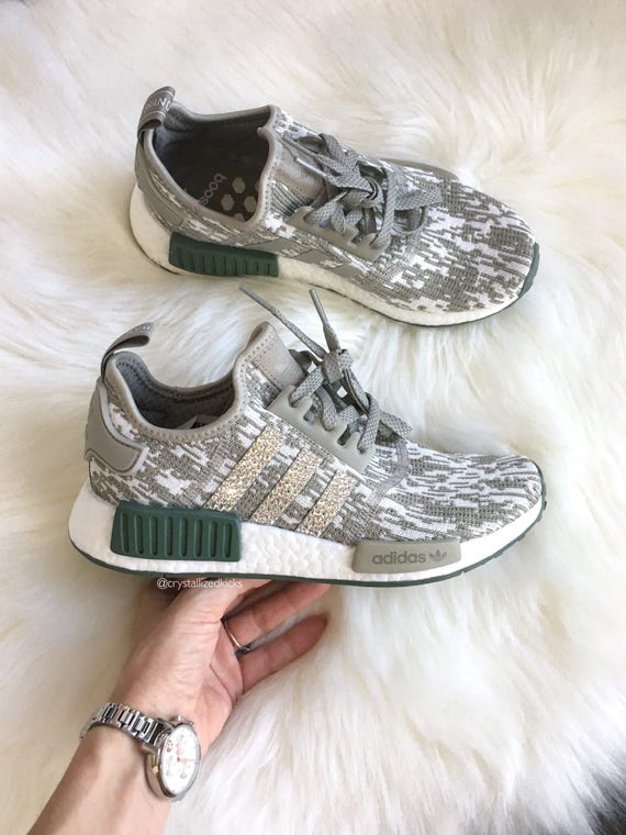 Adidas NMD Runner Made with SWAROVSKI® Xirius Rose Crystals tanolivewhite