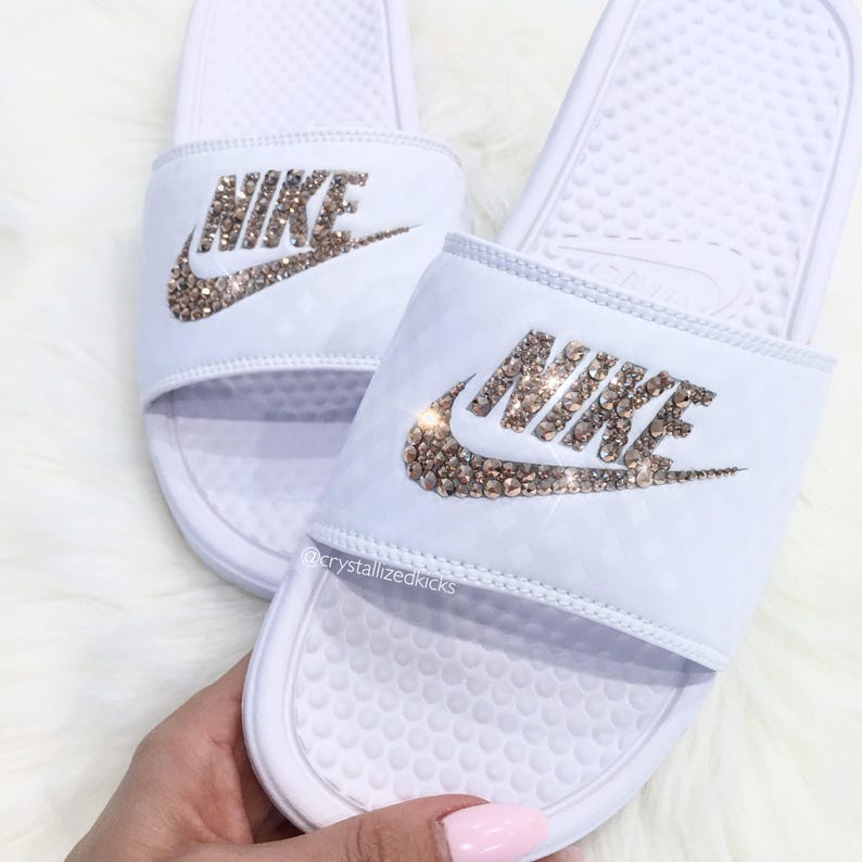 Swarovski Women s Nike Benassi Slides Made with SWAROVSKI® Crystals ... c6645714b