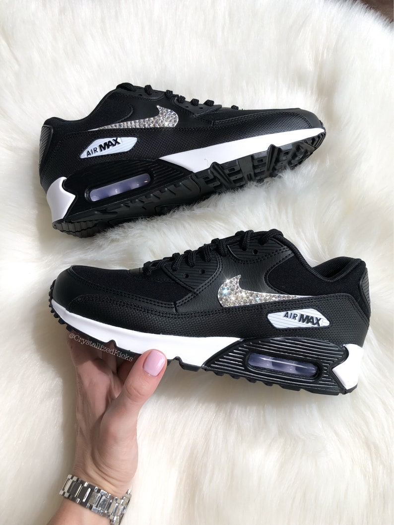 best sneakers f1f20 4a66e Swarovski Nike Air Max 90 Women s Black White Made with   Etsy