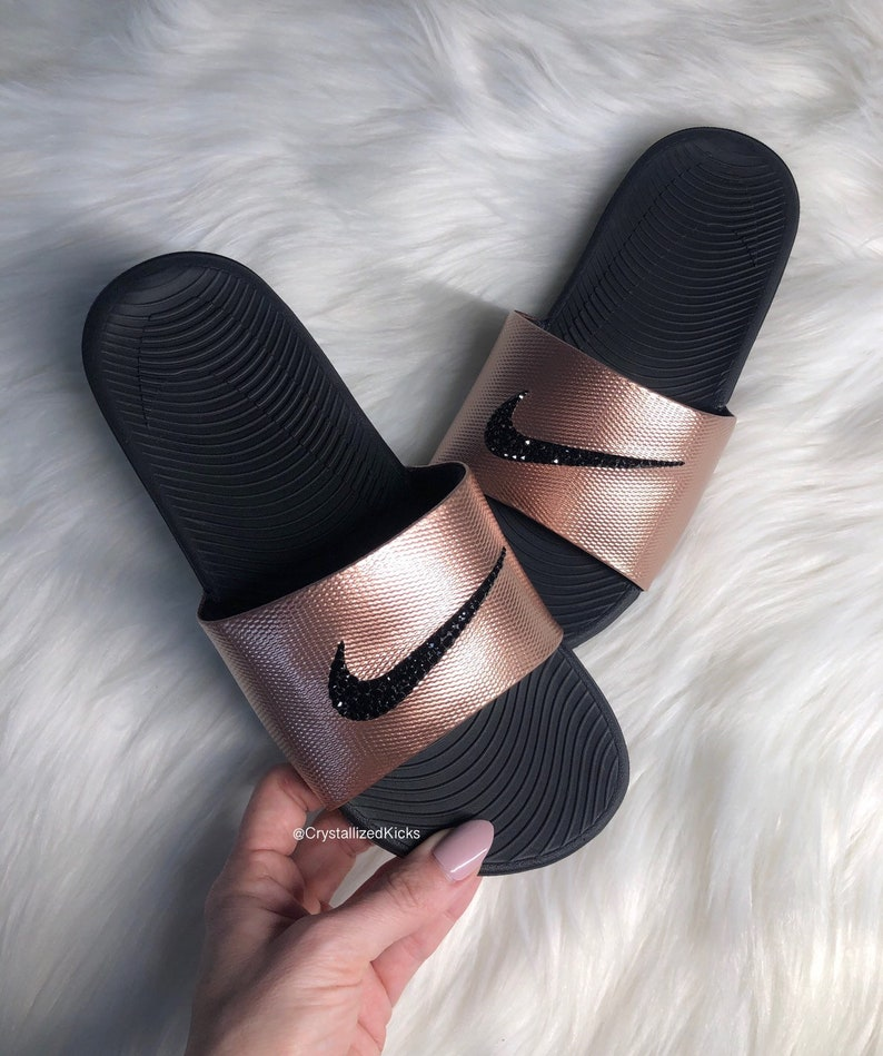 edcbf6aaf8bc7 Swarovski Womens Nike Kawa Slides bling Made with Swarovski Crystals -  Black/rose Gold