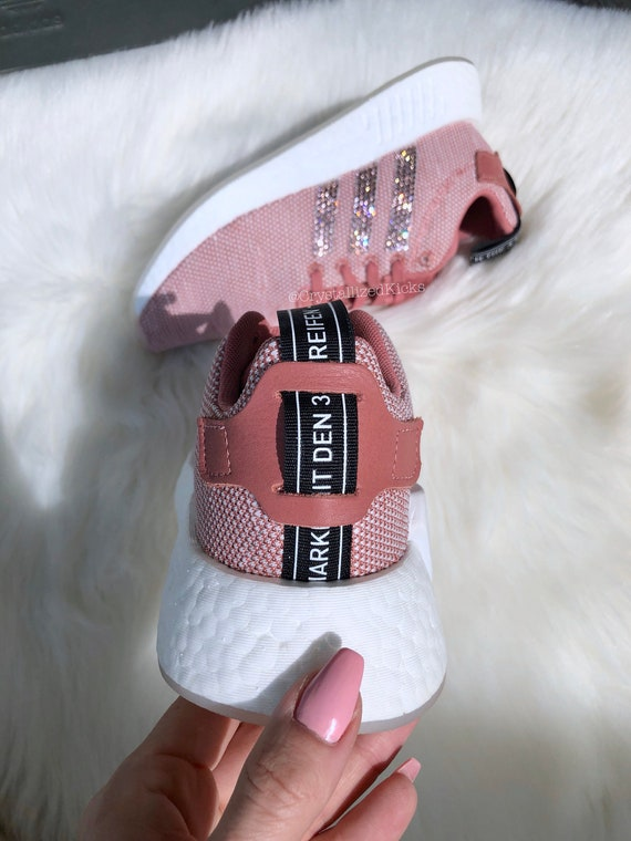 Women's Bling Adidas NMD Runner R2 Made with SWAROVSKI® Xirius Rose Crystals CopperWhite