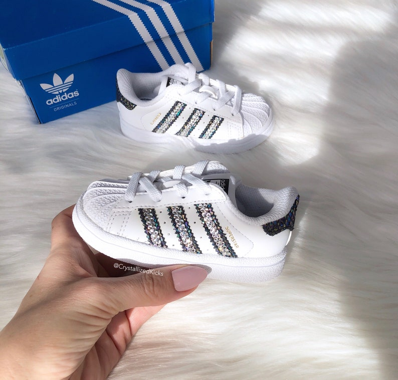 the latest 2c02f c60d3 SIZE 5C Toddler Adidas Superstar Made with SWAROVSKI® Xirius   Etsy