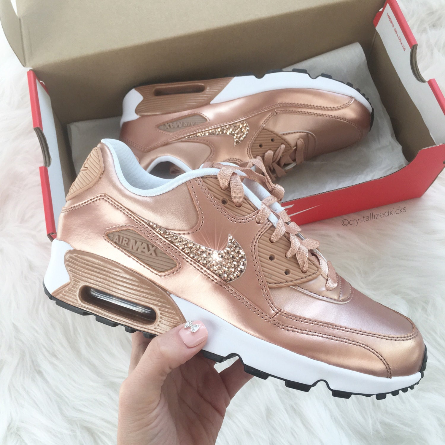 size 40 4ceed e539a Swarovski bling Women s Nike Air Max 90 Rose Gold Sneakers   Etsy