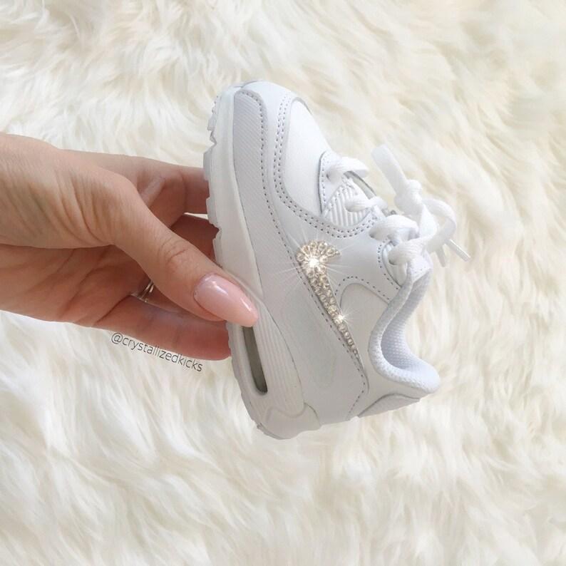 sale retailer f4e24 741ea Niño Nike Air Max 90 zapatos blanco hechos con cristales de   Etsy
