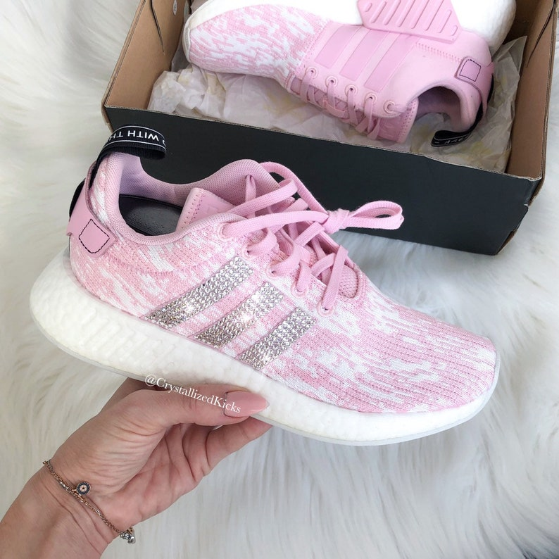 Swarovski Adidas Nmd Runner R2 Pink Made with SWAROVSKI® Xirius Rose Crystals WhitePinkIcy Pink