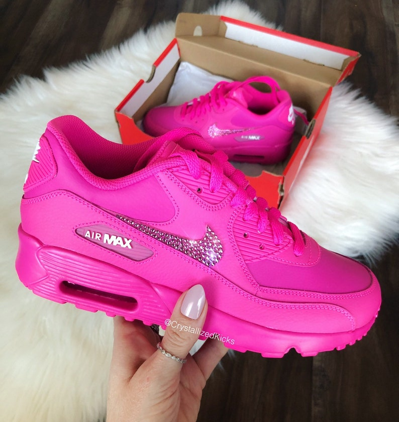 quality design a4581 6d611 Bling Swarovski Nike Air Max 90 Youth Women Made with Swarovski Crystals -  Hot Pink
