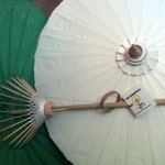 """Waterproof Cotton Canvas Parasols 28"""" canopy & bamboo pole -  NEW COLORS"""