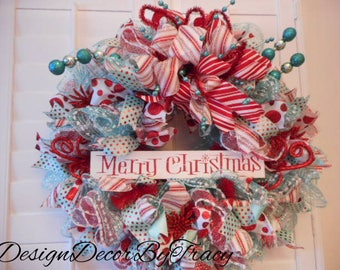 Deco Mesh Christmas Wreath Red Turquoise and White, Christmas Wreath for Front Door, Retro Christmas Wreath, Holiday Wreath, Merry Christmas
