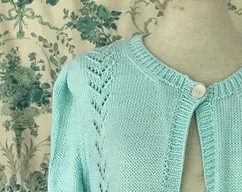 Vintage Handknit Pale Aqua Bolero