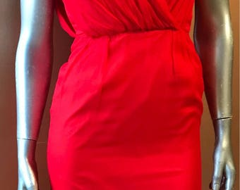 1960s Lipstick Red Silk Wiggle Dress