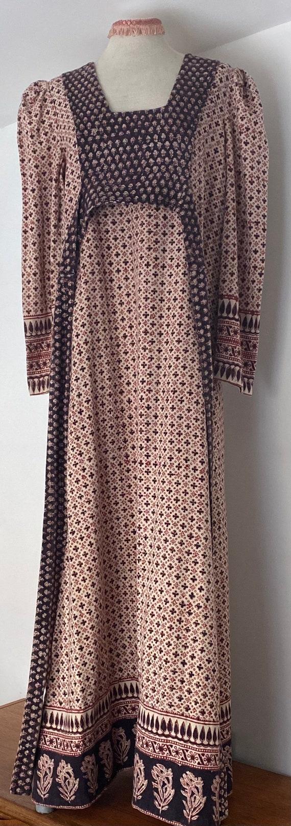 Indian Cotton 70s Long Prairie Dress - image 7