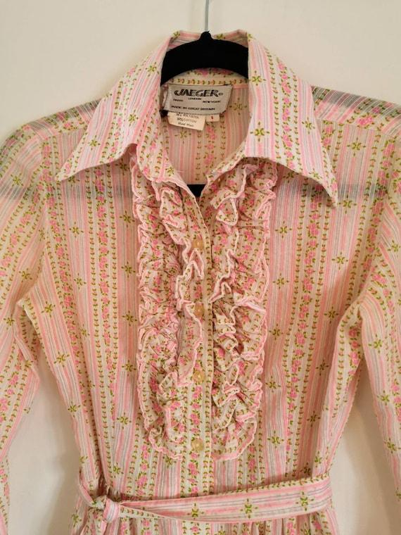 70s Jaeger Ditsy Floral Frilled Shirt Dress