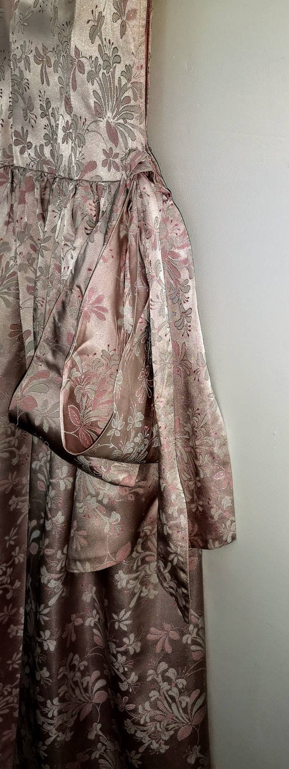 50s Pearlescent Sugar Pink Brocade Long Evening Dr