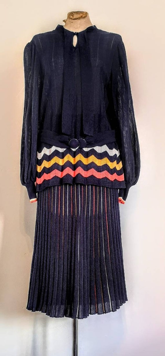 70's Does 30's Chevron Knit Two Piece