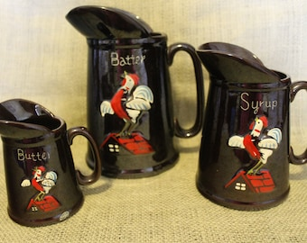 Vintage Pitcher set with Rooster