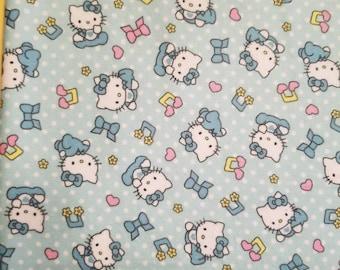 Hello Kitty aqua cotton flannel fabric