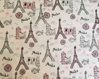Princess pink eiffel tower fabric