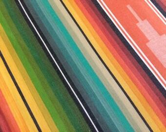 Serape Stripe Fabric - Turq/Orange
