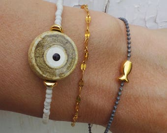 Evil eye bracelet. Greek evil eye bracelet.Beaded evil eye bracelet. Ceramic evil eye  bracelet. Gemstone evil eye bracelet