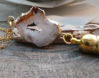 Long gold chain druzy necklace. Druzy tassel necklace. Geode slice necklace. Druzy necklace. Electroplated