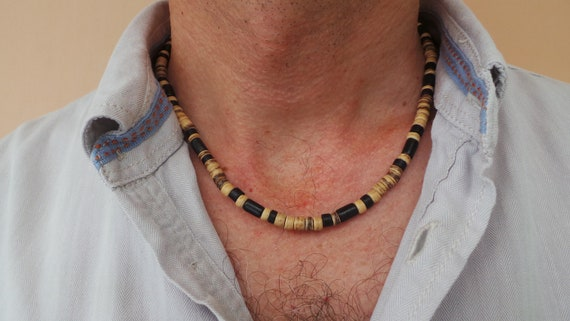 Men/'s Natural Decorative Wood Beaded Necklace with a Fiber Bone Focal Bead and a Magnetic Clasp