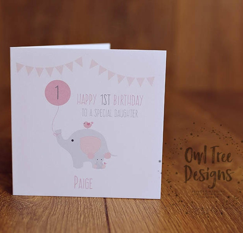 Personalised Daughter 1st First Birthday Card Girl Greeting