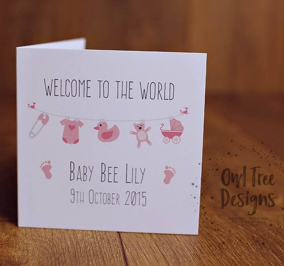 2d9133f99 Personalised New Baby Girl Card