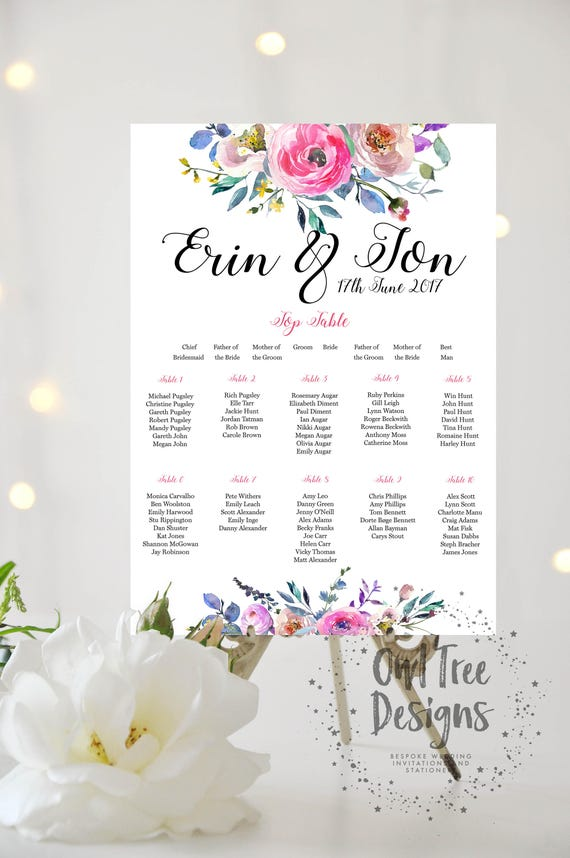 Seating Plan Large A1 A2 A3 Personalised Watercolour Rose Wedding Table