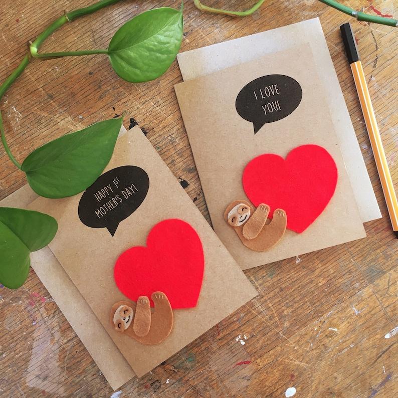 Sloth w/ Love Heart Card  Felt Sloth Greetings Card  Happy image 0