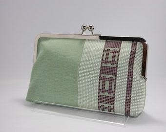 Peppermint green clutch/ Obi bag/ Obi Purse / Geometric bag/Vintage Kimono obi bag / Hand made/4