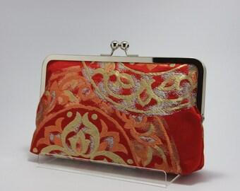 Rood met geometrische / Obi bag / Obi portemonnee / Vintage Kimono obi bag / Hand gemaakt/8