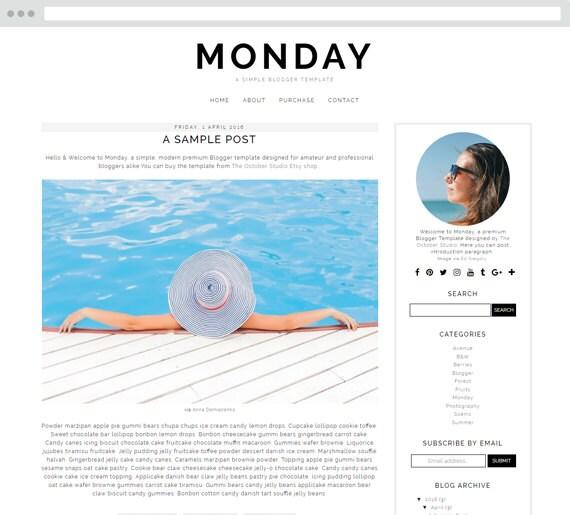 Monday Blogger Template Blogger Theme Blog Template Blog Etsy