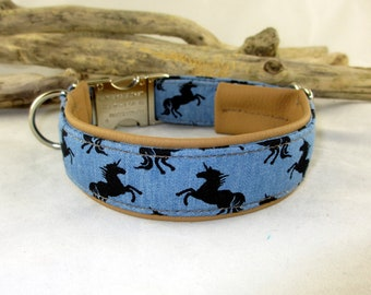 """Collar """"Unicorns"""" dog collar dotted with faux leather upholstery and click clasp metal clasp plastic clasp adjustable"""