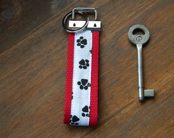 Paw print Key Chain, fabric Wristlet, dog Key Fob, accessory carrier, Token gift, webbing keys fobs, Best selling items, black and white