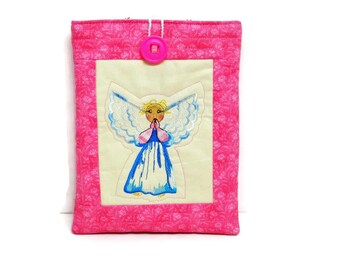 tablet case, tablet sleeve, tablet cover, tablet holder, ipad mini case, ipad case, guardian angel, gift womens, pink fabric, kindle cover,