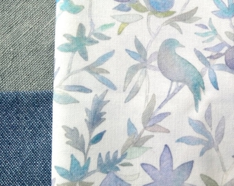 Watercolor Fabric   Bird fabric, forest fabric cotton print, blue watercolor floral fabric, blue bird print fabric from original watercolor.
