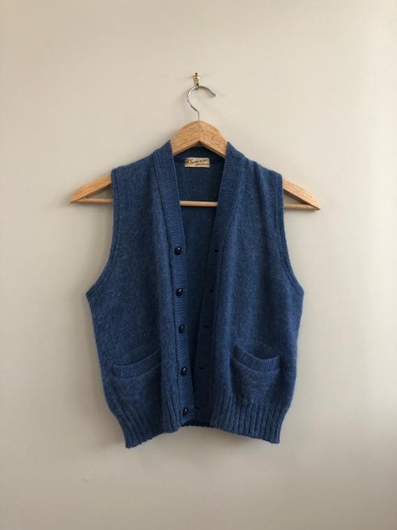 1940s Ser-Val Sportswear Blue Wool Sweater Vest /