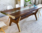 """Modern Dining Table, Dining Table, Walnut Dining Table, Conference Table, Walnut Table, Live Edge Table, Brass Dining Table """"The April"""""""