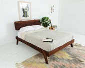 """Modern Walnut Bed Frame, Queen Platform Bed """"The Wookie"""" Mid Century Modern Bedframe"""