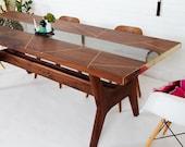 "Walnut Dining Table, Walnut Live Edge Table, Geometric Brass Dining Table ""The Provo Dining Table"" Bohemian Decor mad men"