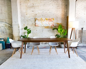 Extendable Modern Walnut Dining Table Mid Century Modern Etsy