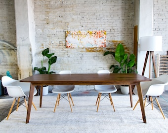 mid century modern dining table solid walnut dining table etsy rh etsy com Industrial Kitchen Table Antique Kitchen Tables