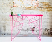 Console Table, Neon Pink Hallway Table, mid Century Modern Table