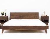 "Walnut Platform Bed Frame, Mid Century Modern Bed, Wood Bed frame ""The Bosco"" Bohemian Decor mad men"